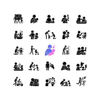 Parent and child interaction black glyph icons set on white space