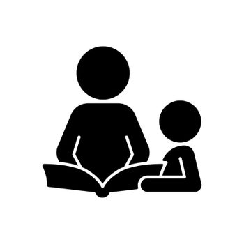 Reading book with child black glyph icon