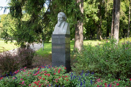 The bust of Sudrabu Edzus in Riga, Latvia