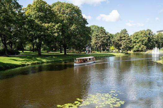 boat in a park in Riga, Latvia