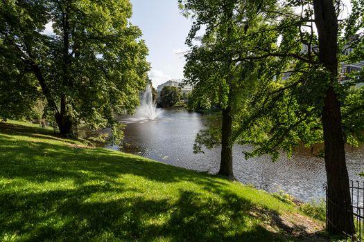 A river in the park in Riga, Latvia