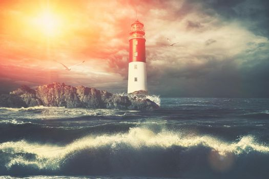 Old lighthouse searchlight beam through marine air.