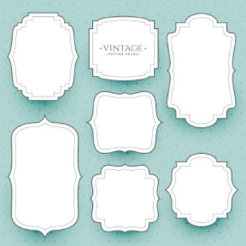 classic white vintage frames and stickers