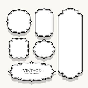 empty vintage labels set of six