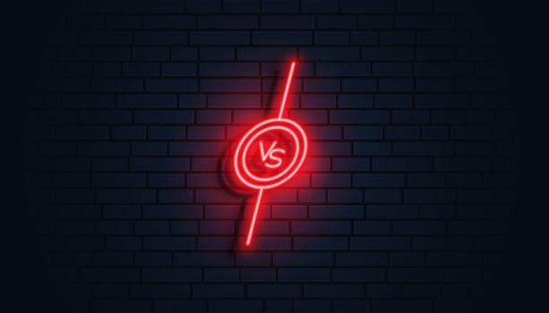 neon style versus vs banner design