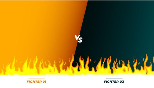 versus vs fight match banner with flames