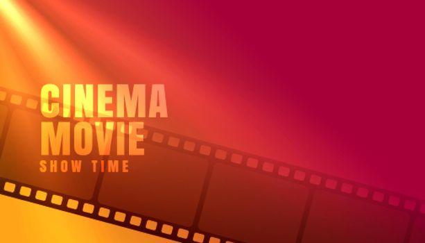 cinema movie showtime with film strip background