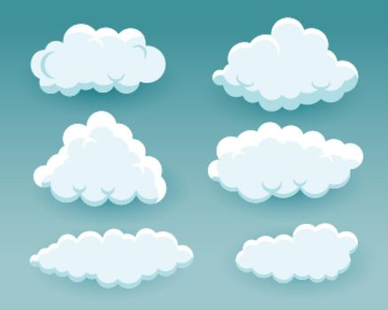 fluffy cartoon clouds in different shapes