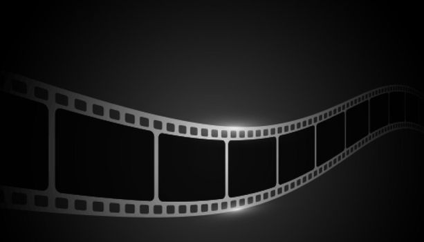 realsitic film strip on black background