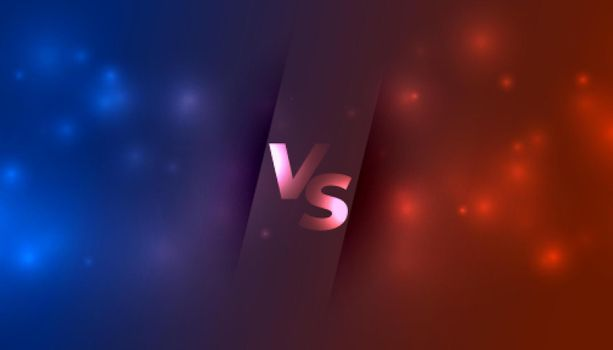 versus vs banner with glowing sparkles