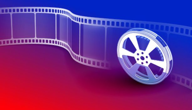 cinema movie film strip vibrant background