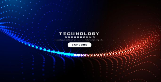 glowing technology particles digital wavy background