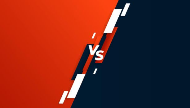 versus vs comparison banner in red and black colors