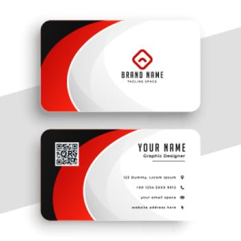 abstract red theme business card design