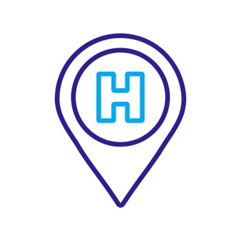 Hospital or heliport pointer vector icon