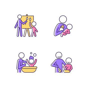 Parent-child bonding RGB color icons set