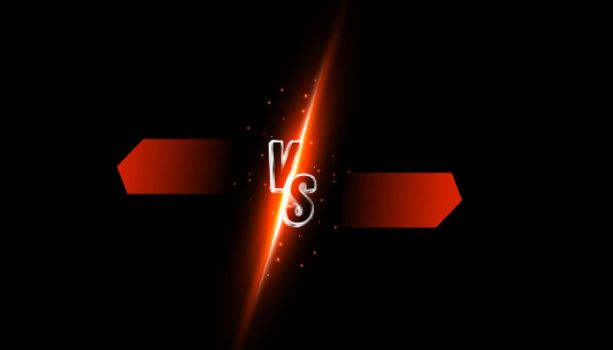 versus vs comparison banner with light streak