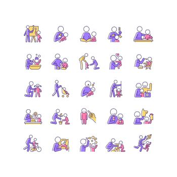 Parent and child interaction RGB color icons set