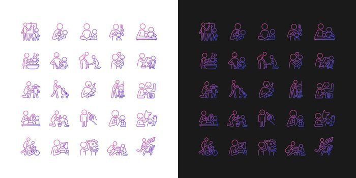 Parent and child interaction gradient icons set for dark and light mode