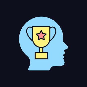 Achievement motivation RGB color icon for dark theme