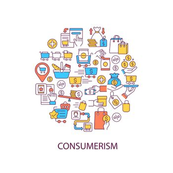 Consumerism abstract color concept layout with headline