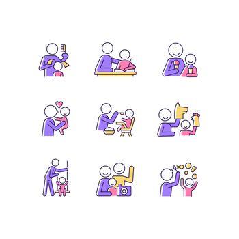 Bonding activity RGB color icons set
