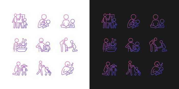 Responsible parenthood gradient icons set for dark and light mode
