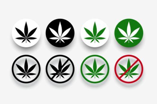 marijuana banned symbols with leaf