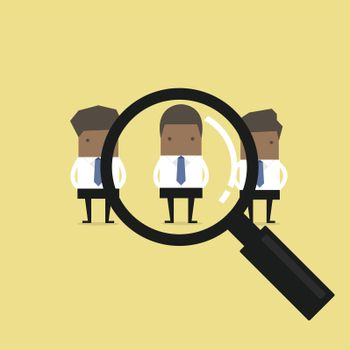 Searching for the best candidate African businessman recruit concept.
