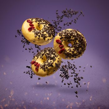 Flying donuts with sprinkles