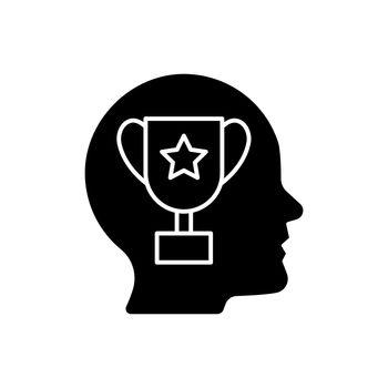 Achievement motivation black glyph icon