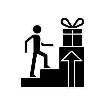 Reward based motivation black glyph icon