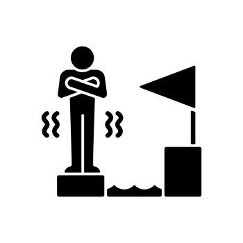 Fear of failure black glyph icon
