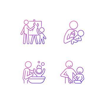 Parent-child bonding gradient linear vector icons set