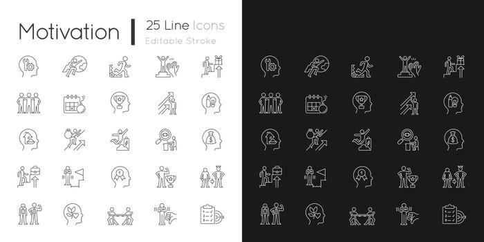 Motivation linear icons set for dark and light mode