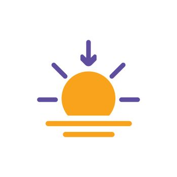 Sunset vector isolated glyph icon. Weather sign