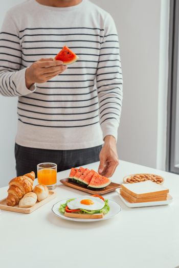 young man with love prepared breakfast
