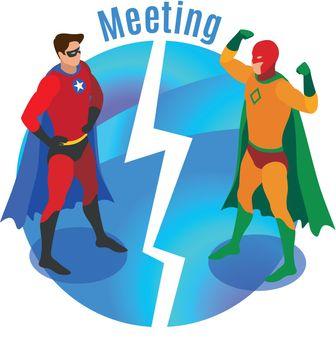 Super Heroes Meeting Isometric Illustration