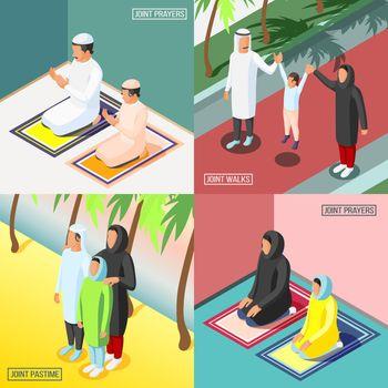 Arabic Family 2x2 Isometric Concept
