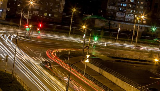 Road intersection at night
