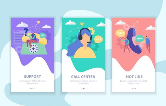 Customer Support Flat Banners