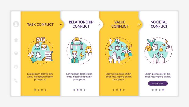 Different conflicts onboarding vector template