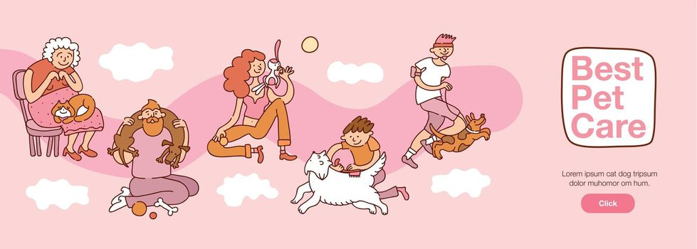 People And Pets Interaction Illustration