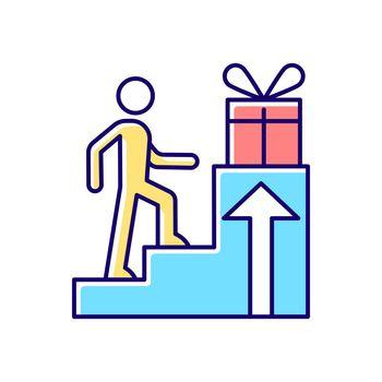 Reward based motivation RGB color icon