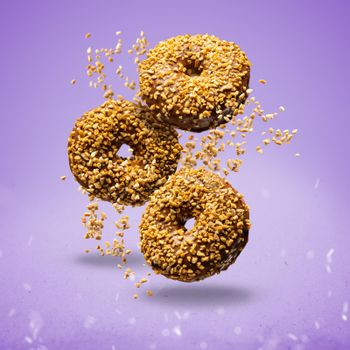 Donuts sprinkled with crunchy peanut
