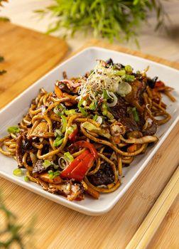 Delicious noodles stir fry