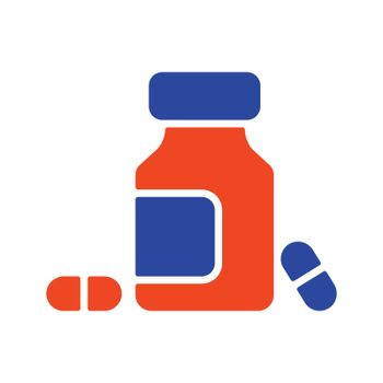 Medicine bottle and pills glyph icon. Medicament