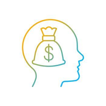 Money reward gradient linear vector icon