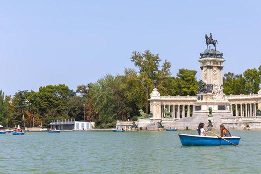 View of Buen Retiro park in Madrid Spain