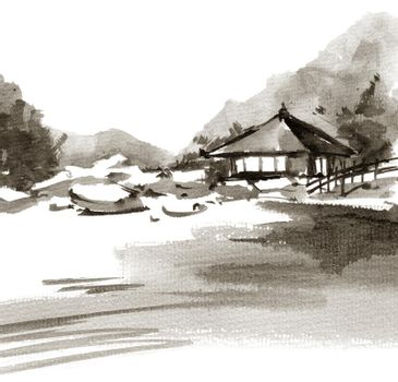 Chinese ink landscape